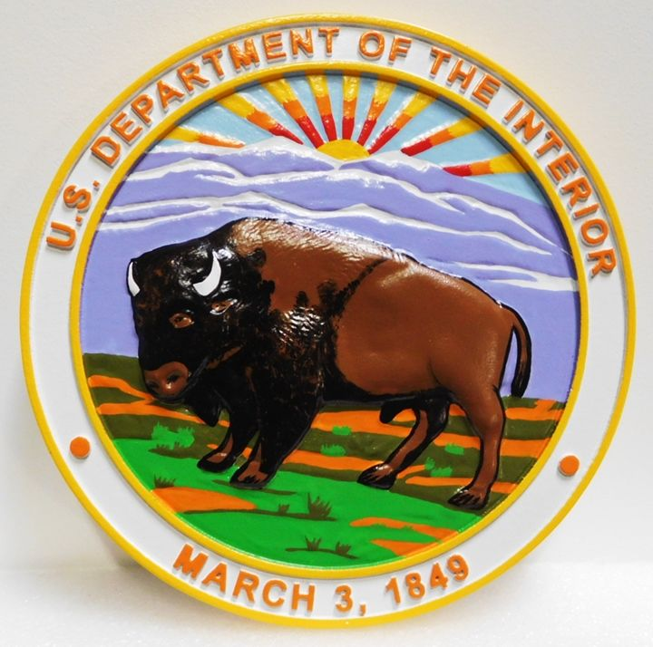 AP-5610- Carved Plaque of the Seal of the US Department of Interior, 3-D Artist Painted