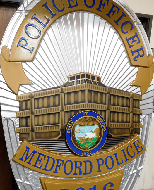 PP-1260 - Large Carved Wall Plaque of the Police  Badge of  the City of Medford, Oregon, Artist Painted