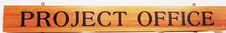 F15563 - Carved Engraved Hanging  Sign hanging Sign for a Town's Project Office,  Stained Western Red Cedar
