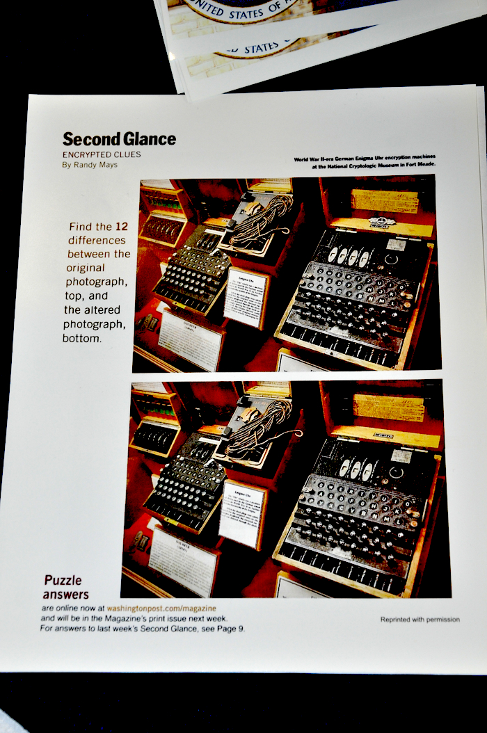 "Washington Post ""Second Glance"" Puzzle - featuring the Enigma"