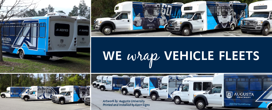 Augusta University's fleet of buses that were wrapped
