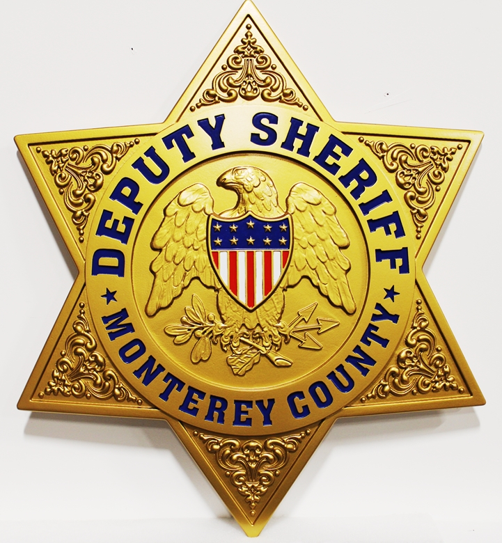 PP-1757 - Carved Plaque of the Star Badge of the Deputy Sheriff of Monterey County, 3-D Artist-Painted