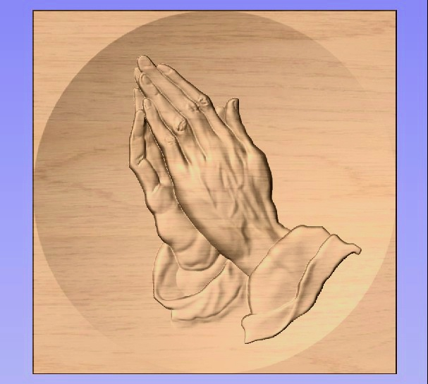 M3975 - Carved Oak Applique, Hands in Prayer
