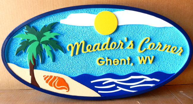 "L21110 - ""Meader's Corner"""" Beach House Sign with Sun, Sea, Island, Palm Tree and Shell"