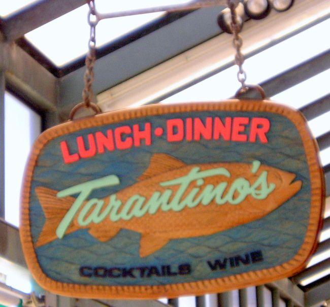 "Q25110 - Carved Wood Restaurant Sign "" Lunch Dinner Cocktails Wine,"" Carved Fish"