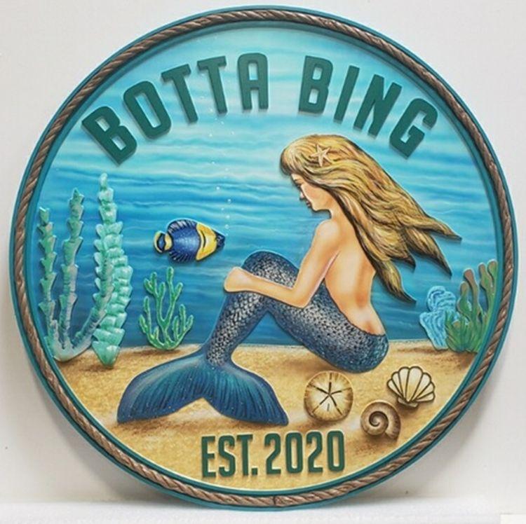 "L21912– Carved 2.5-D Multi-Level Relief HDU Sign ""Botta Bing""  for Seashore Residence, Artist-Painted"