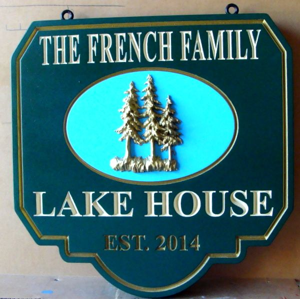 "M22402 - Carved Sign for ""French Family"" Lake House with 3-D Carved Pine Trees"