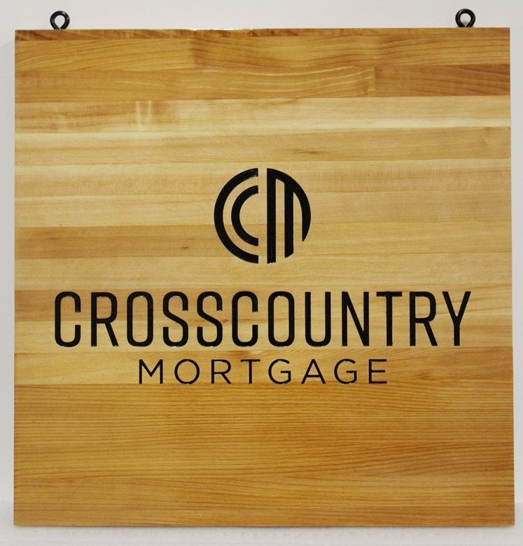"""C12234 - Engraved Western Red Cedar Wood  Sign for """"Crosscountry Mortgage"""""""