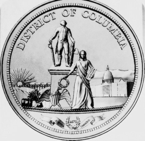 DP-1420 - Carved Plaque of the Seal of the District of Columbia, Painted Silver Metallic
