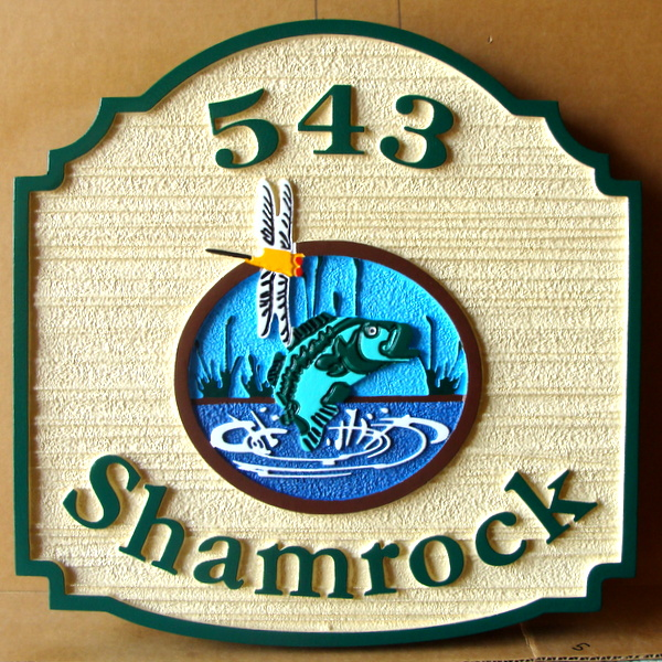 M22588 - Sandblasted HDU Sign for Shamrock Address with Leaping Trout and Dragonfly