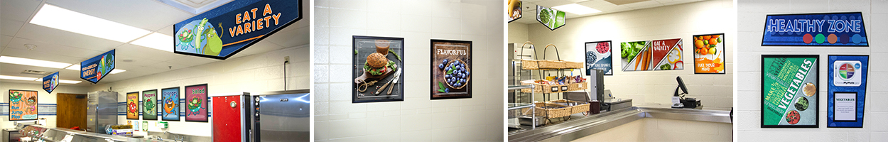 4 pictures of cafeteria signs showing nutrition education, food artwork, food posters, food banners