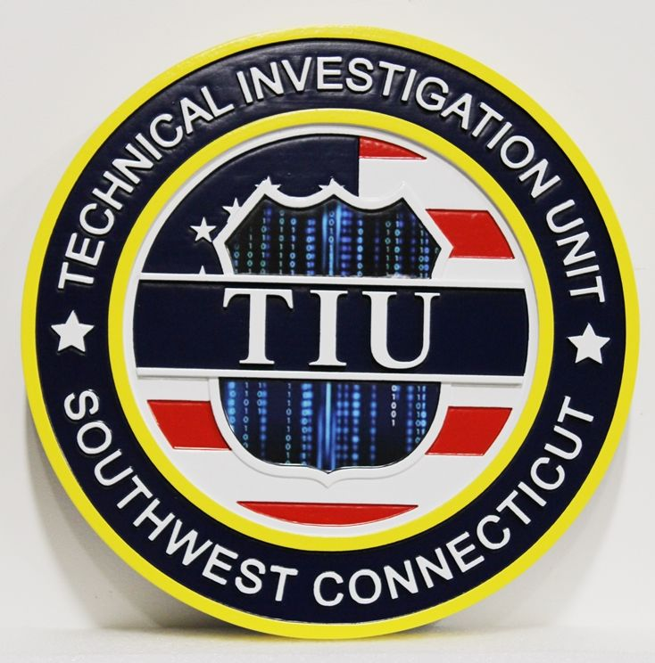 VP-1446 - Carved 2.5-D HDU Plaque of the Logo of the Technical Investigation Unit, in Southwest Connecticut