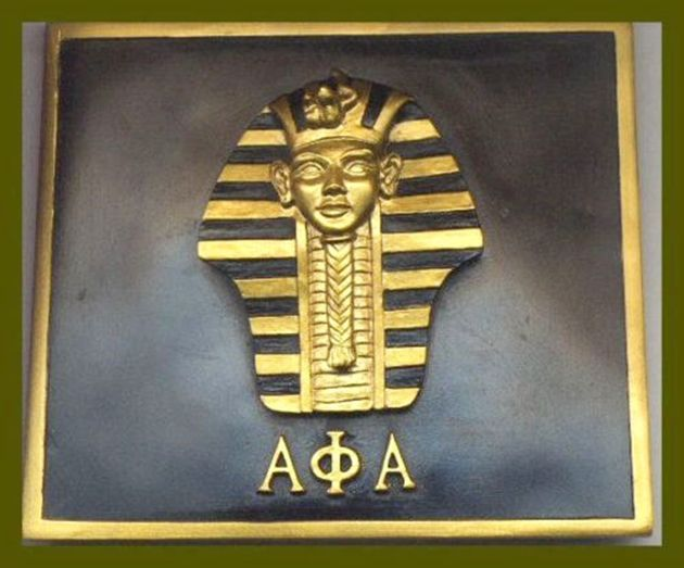 SP-1560 - Carved Wall Plaque of Alpha Phi Alpha  Fraternity Emblem, Gold Leaf Gilded