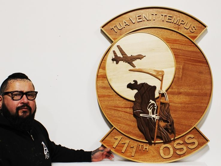 M3109 - Carved Plaque for the 111th Operations Support Squadron (OSS) of the US Air Force. using  Marquetry and Overlays  with Mahogany, Walnut, Alder and Birch Hardwoods
