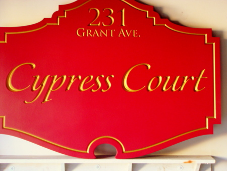 """I18035 - Carved Wood Property Name and Address Sign, """"Cypress Court"""""""