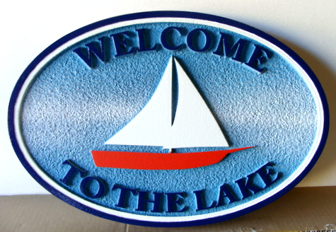 "M22519 - Carved and Sandblasted Lake Cottage Sign, with Sailboat, ""Welcome to the Lake"""