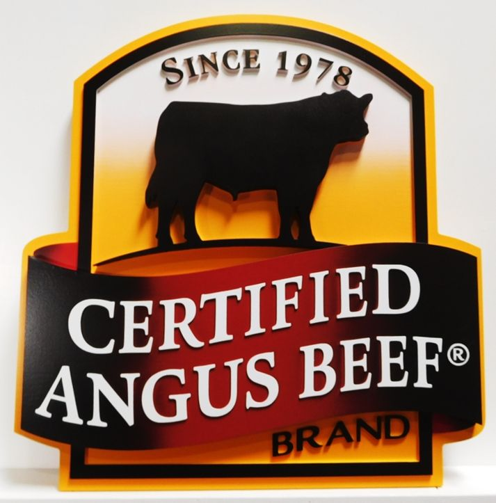 "Q25037 - Carved Sign for the ""Certified Angus Beef"" brand  with an Angus Cow,"