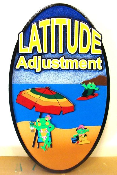 "L21066 - Carved and Sandblasted HDU Sign for Beach House,  with Frogs, Umbrella and Beach, ""Latitude Adjustment"""