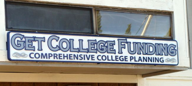 "SA28471 - Carved HDU Sign for ""Get College Funding,"" Office"