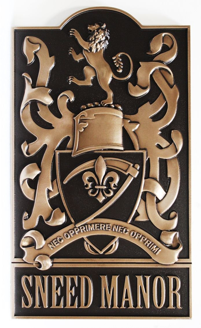 M7074 - 3-D Bronze-plated Plaque of a Family Coat-of-Arms for the Sneed Manor