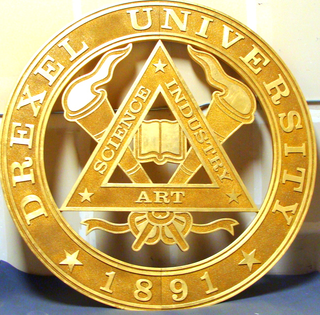 FA15573 -Large Carved Plaque of the Seal of Drexel University , 2.5-D , Gold-Leaf Gilded