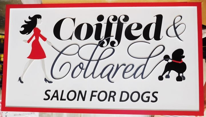 """S28117 - Carved HDU sign for """"Coiffed Collared Salon for Dogs"""",  2.5-D  Raised Relief  Artist-Painted with  Woman Walking a Poodle as Artwork"""