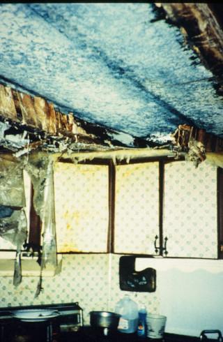Photo of rain-damaged kitchen