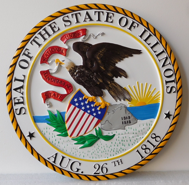 BP-1215 - Carved Plaque of the Great Seal of the State of Illinois, 3-D Artist-Painted