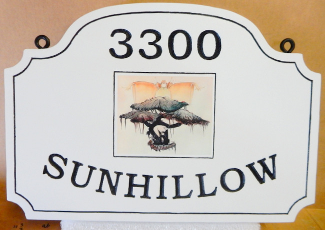 "I18328 - Engraved Residence Address and Name ""Sunhillow"" Sign with Giclée Appliqué"