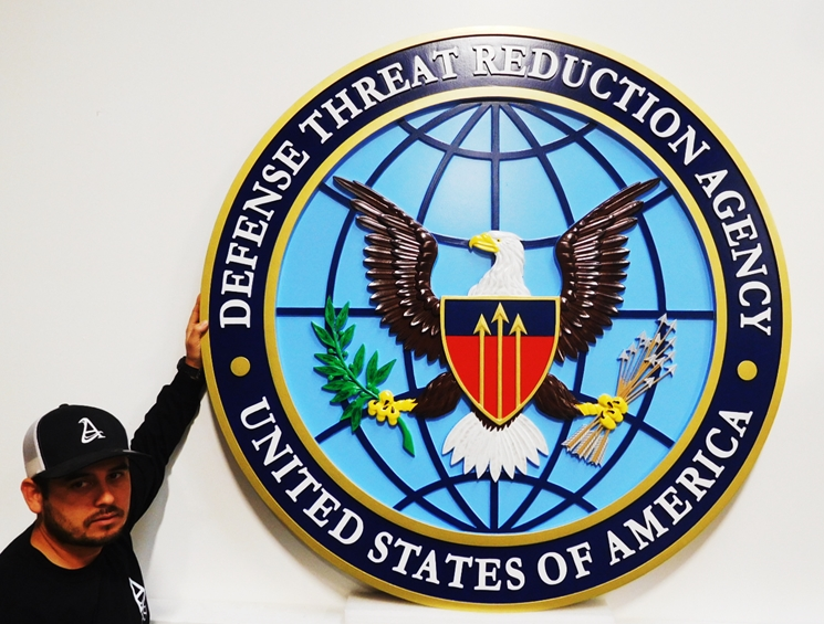 IP-1721 - Carved Plaque of the Seal of the Defense Threat Reduction Agency, 3-D Artist-Painted