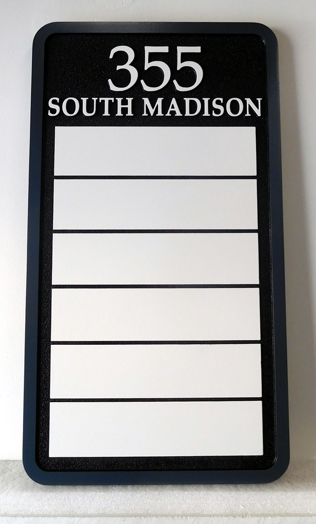 A10590 - Easy to Read Office Building Address Sign with 6 Plaques for Individual Office Names