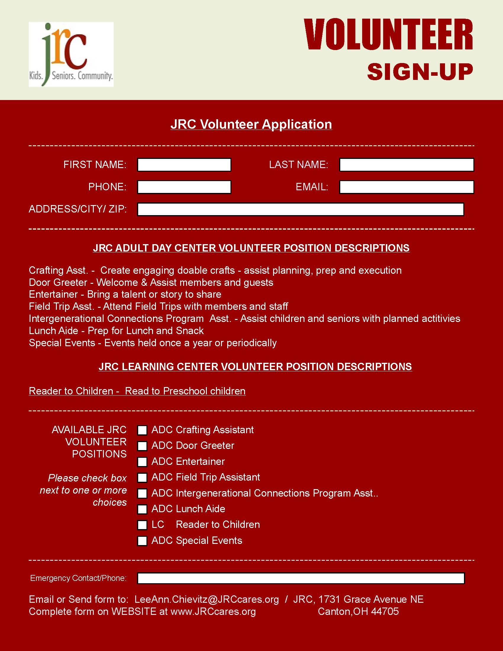 JRC Volunteer Application