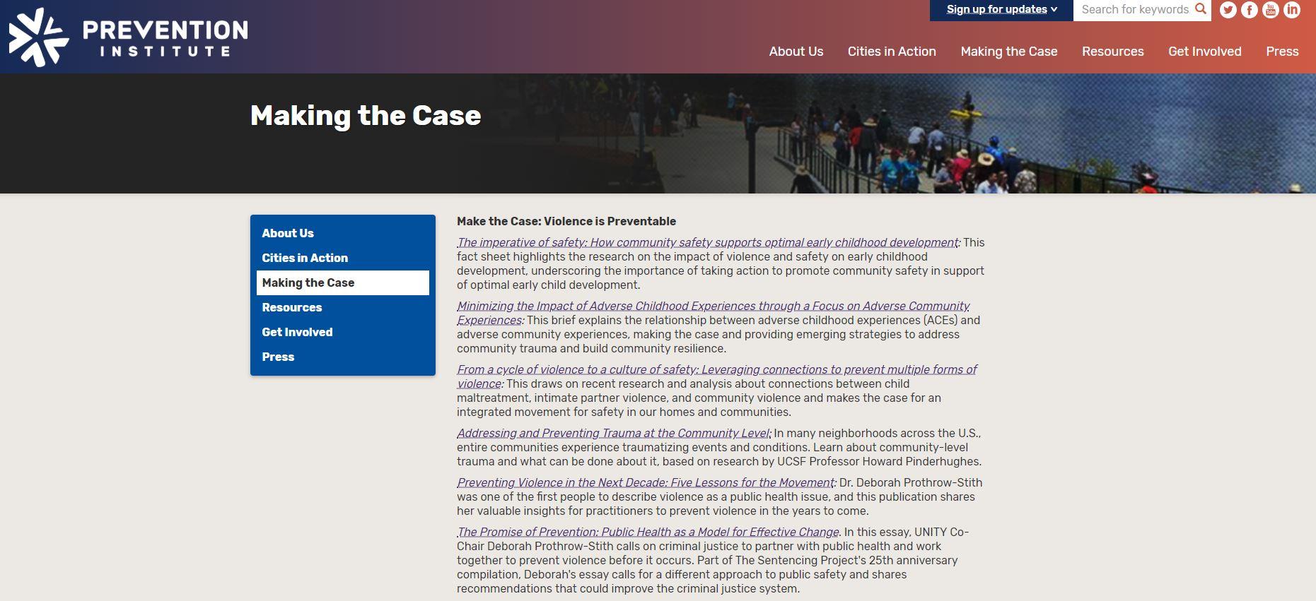 Make the Case: Violence is Preventable