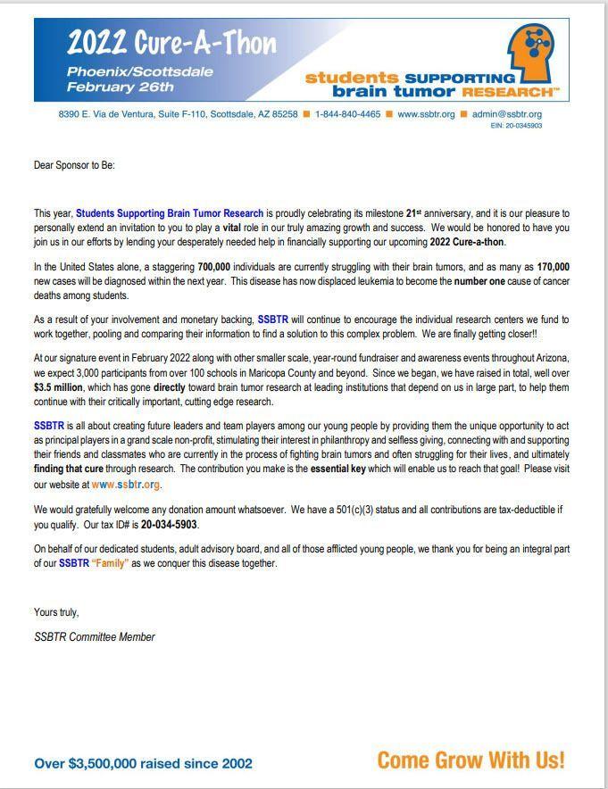 2022 Sponsorship-to-Be Letter
