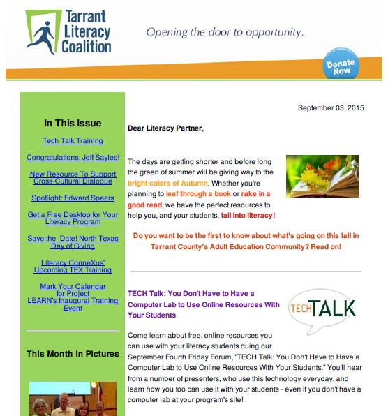 September 2015 Newsletter