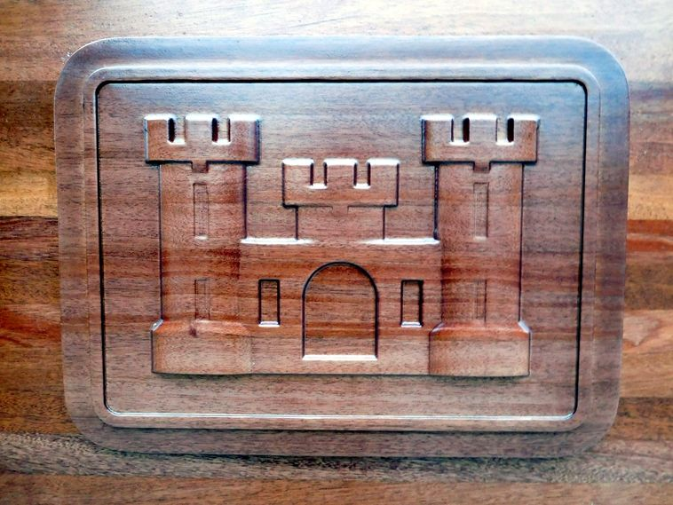"""V31816 - Carved 3-D Mahogany Wall Plaque of the Crest/logo/seal of the US Army Corps of Engineers, """"the Castle"""""""