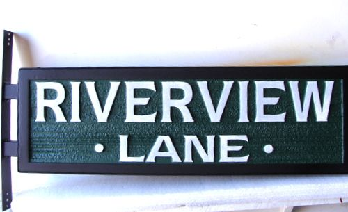H17054- Carved HDU Street Name Sign, Riverview Lane,  with Steel Framed and Side Bracket for Mounting on a Post
