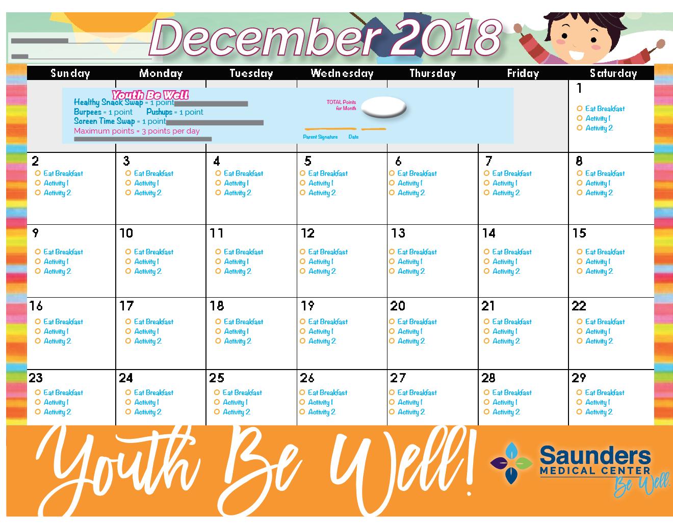 December 2018 YBW Calendar