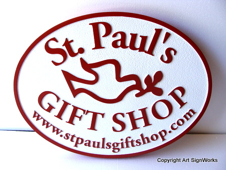 SA28454 - Carved Church Gift Shop Sign with Dove and Olive Branch.
