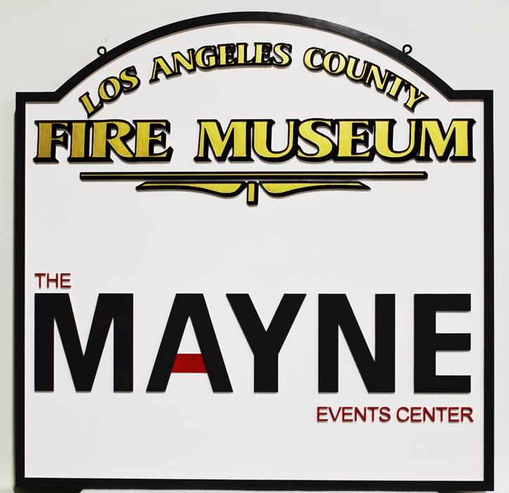 F15952 - Carved  High-Density-Urethane  sign was made for the Fire Museum in Los Angeles County, 2.5D Artist-Painted.