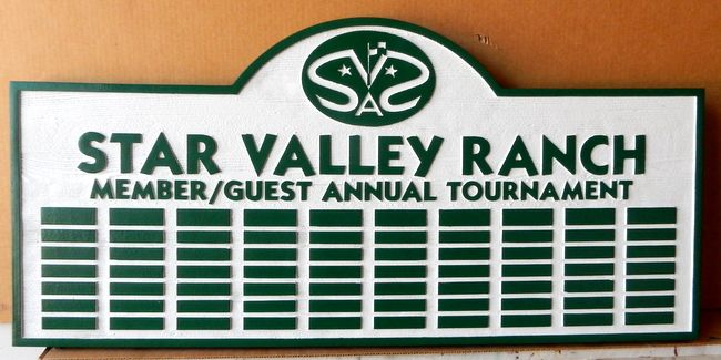 WP-3120 - Carved Perpetual Plaque  for  Star Valley Ranch  Tournament, Artist Painted with Engraved Nameplates