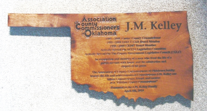 M3111 - Carved  Cedar Wood Award Plaque for County Commissioner; Plaque Carved in Shape of Oklahoma (Gallery 32)