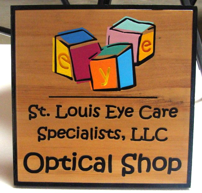 """B11159- Carved Wooden Sign for Optical Dispensary (""""Optical Shop"""")"""