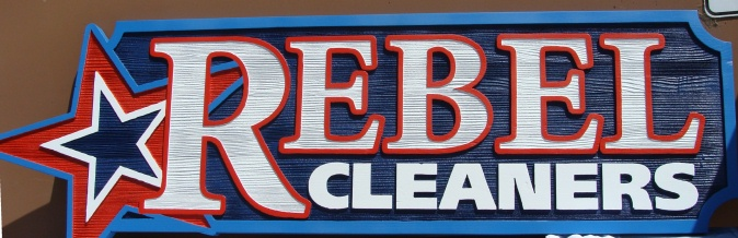"""SA28510 - Sign for """"Rebel Cleaners"""" with Star Logo"""