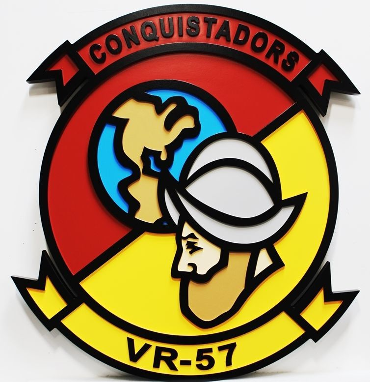 JP-1672  - Carved 2.5-D Relief HDU Plaque of the Crest of the Conquistadors, Fleet Logistics Support Squadron, VR-57