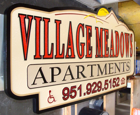"K20138 - Large Sandblasted ""VIllage Meadows"" Apartment Entrance Sign, Side View"