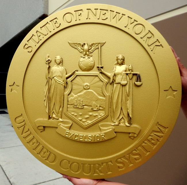 W32371D - Carved 3-D HDU Plaque of the Seal of the Unified Court System for the State of New York.