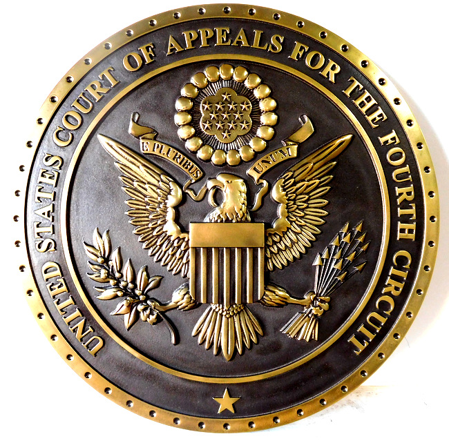 A10818 - 3-D Brass Wall Plaque of the Seal of the US Court of Appeals, Fourth Circuit
