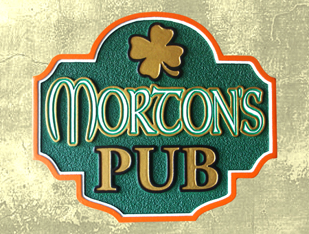 Y27596 - Carved Irish Pub Sign with Shamrock
