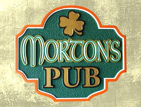 Y27596 - Carved Irish Pub Sign with Shamrock